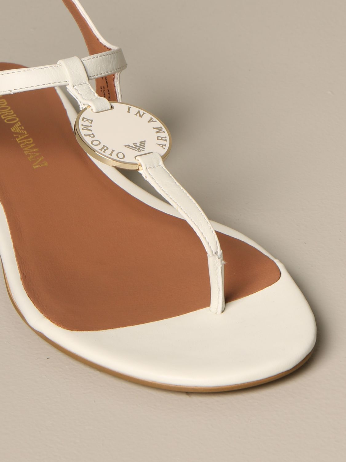 Emporio Armani leather sandal with plaque white 4