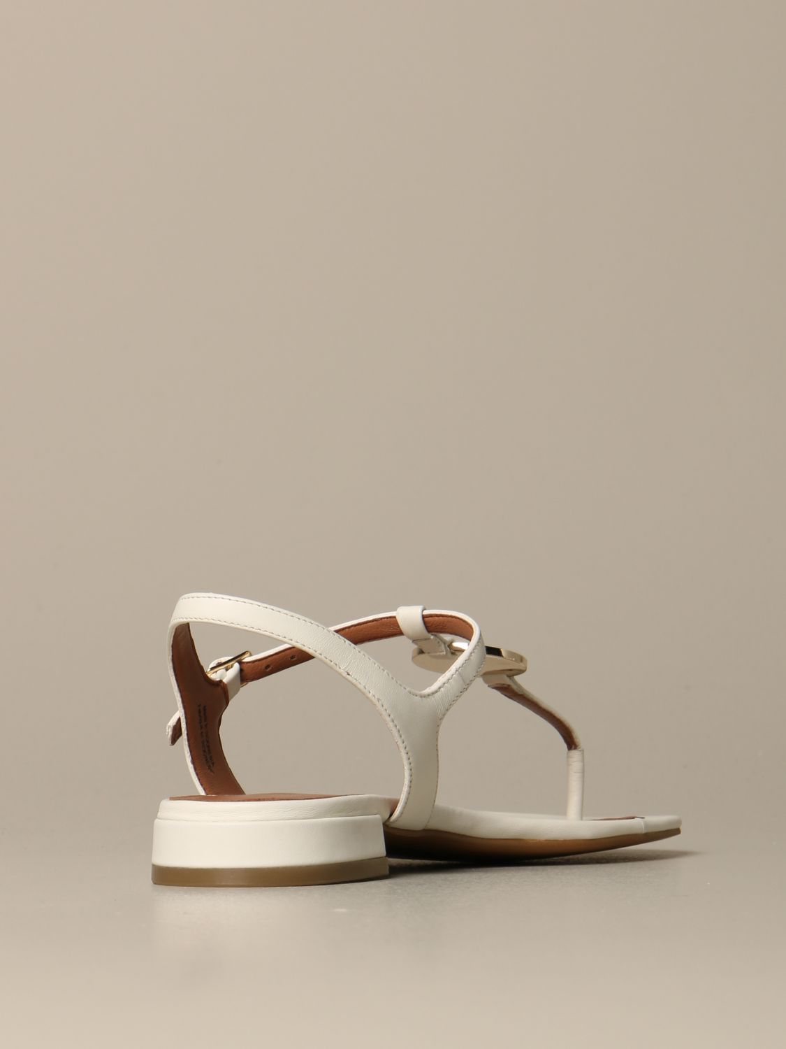 Emporio Armani leather sandal with plaque white 5