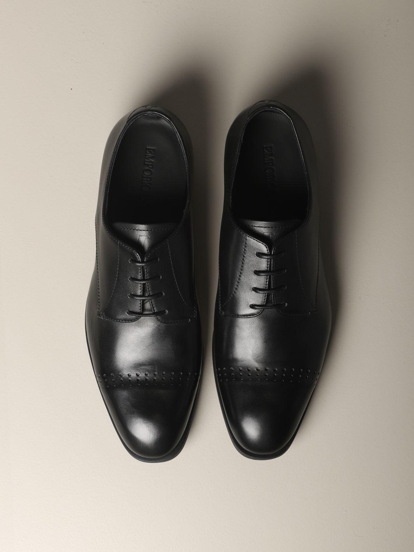 Brogue shoes Emporio Armani: Emporio Armani classic derby in leather black 3