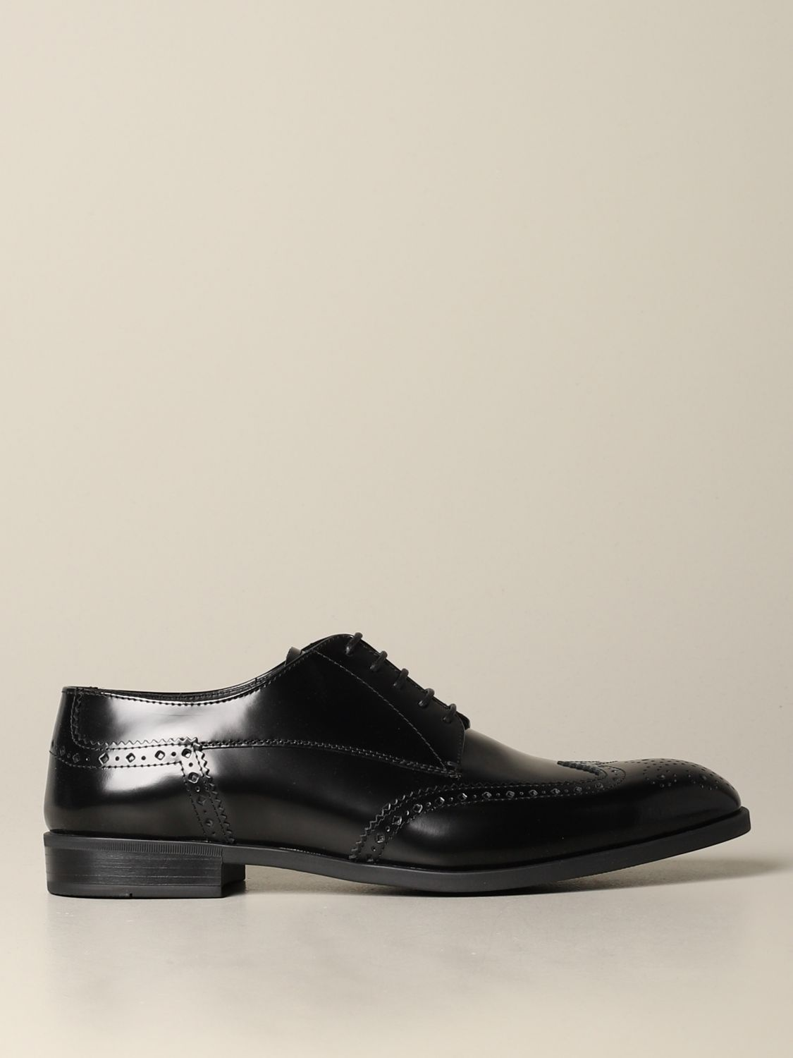Brogue shoes Emporio Armani: Emporio Armani derby in brushed leather with brogue motif black 1
