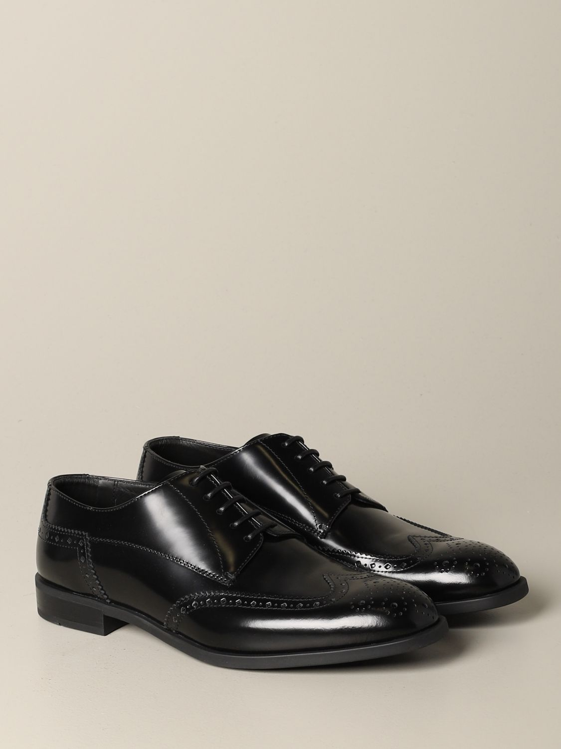 Brogue shoes Emporio Armani: Emporio Armani derby in brushed leather with brogue motif black 2