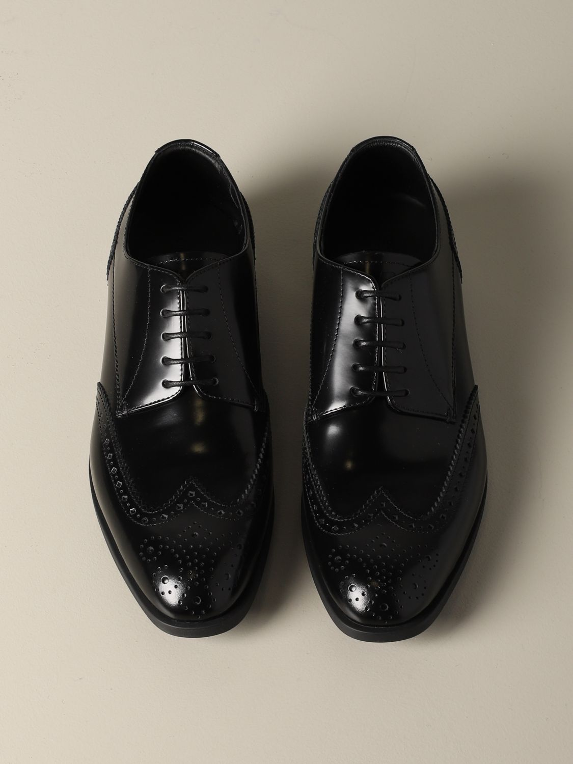 Brogue shoes Emporio Armani: Emporio Armani derby in brushed leather with brogue motif black 3