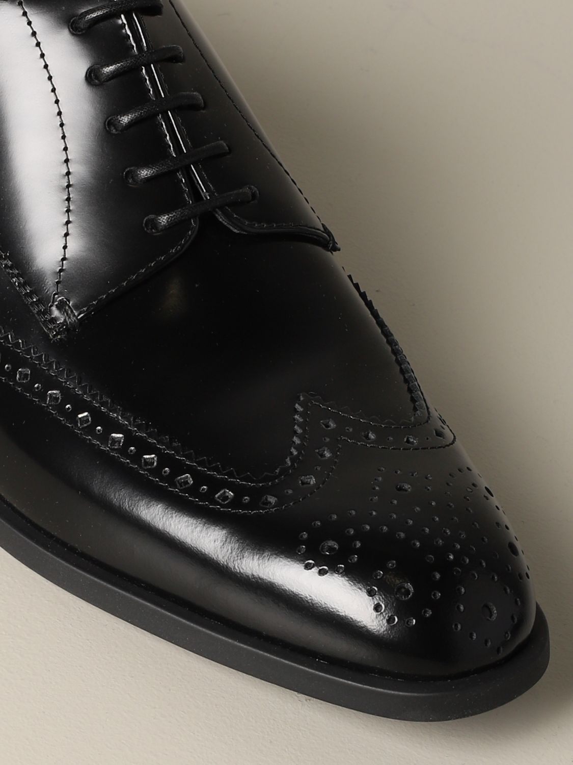 Brogue shoes Emporio Armani: Emporio Armani derby in brushed leather with brogue motif black 4