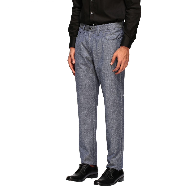 Hose Emporio Armani: Emporio Armani Hose aus strukturierter Baumwolle blau 4