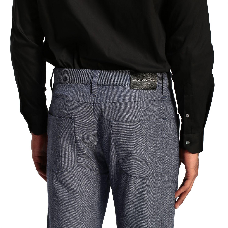 Hose Emporio Armani: Emporio Armani Hose aus strukturierter Baumwolle blau 5