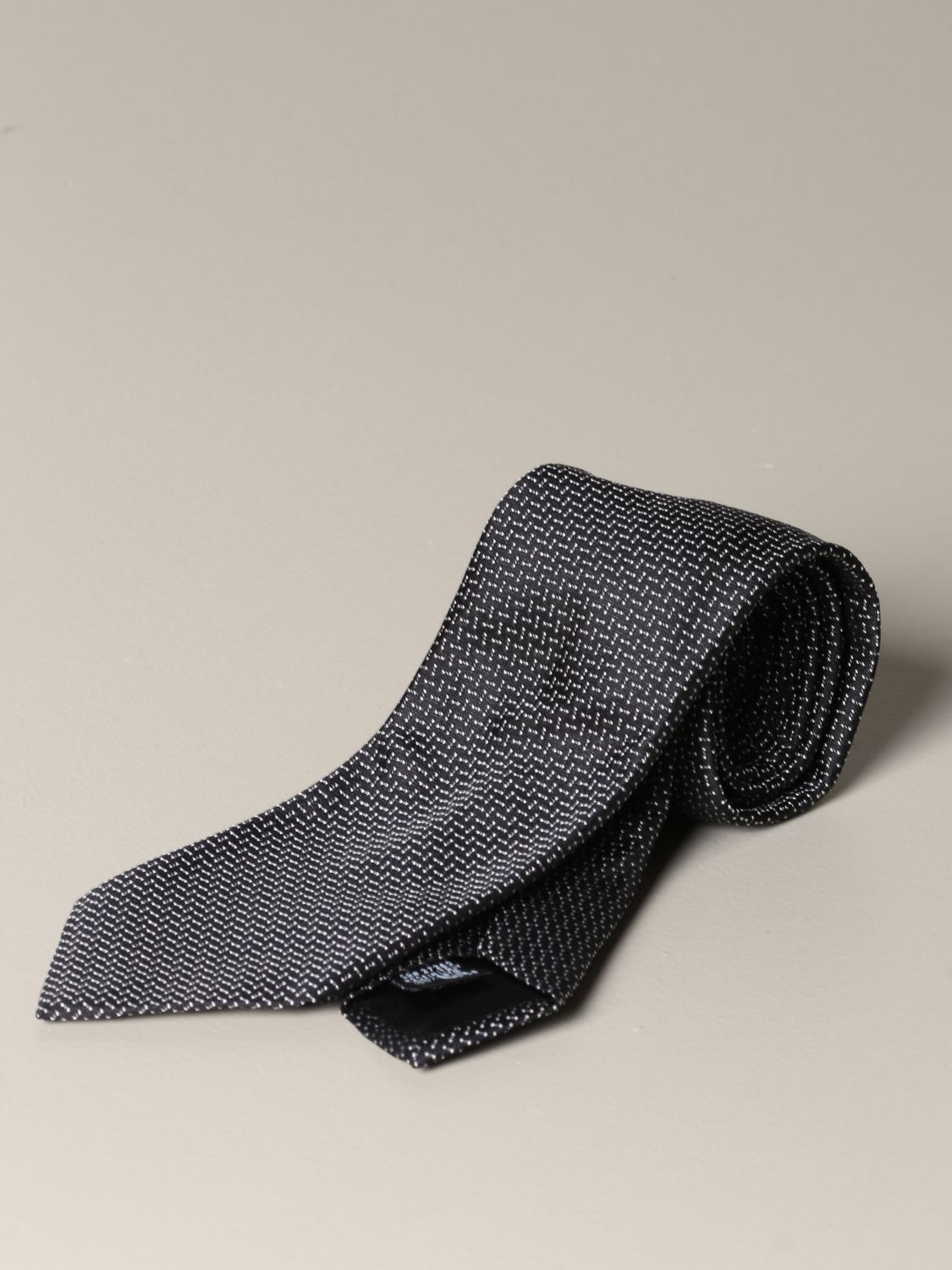 Tie Emporio Armani: Emporio Armani tie in micro patterned silk black 1