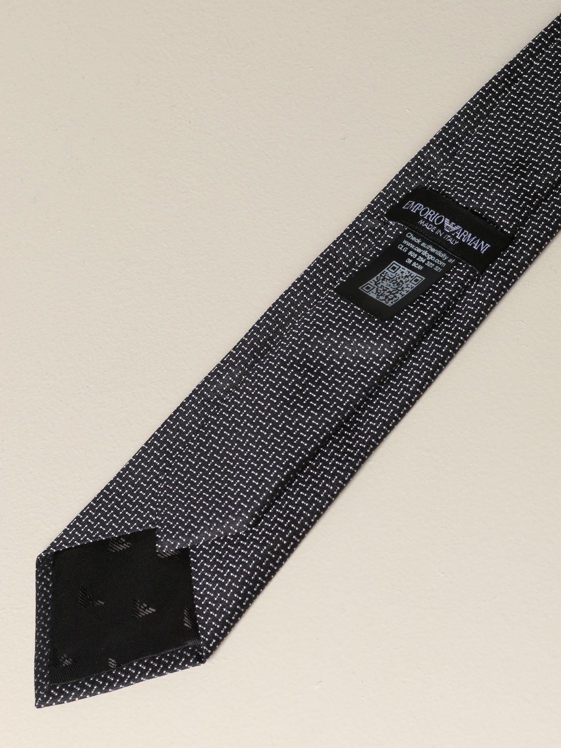 Tie Emporio Armani: Emporio Armani tie in micro patterned silk black 2