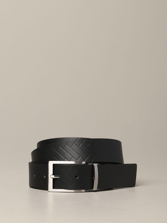 Emporio Armani Gürtel aus bedrucktem und reversiblem Leder schwarz 1
