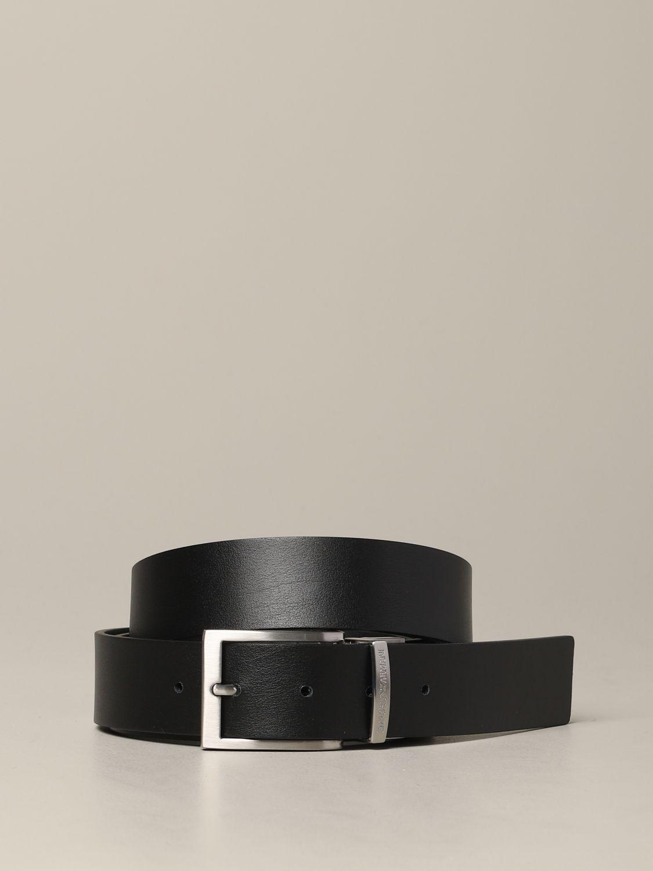 Emporio Armani Gürtel aus bedrucktem und reversiblem Leder schwarz 2