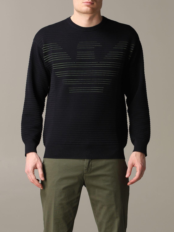 Pullover Emporio Armani: Emporio Armani gestreiftes Sweatshirt aus Baumwolle mit Logo blau 1