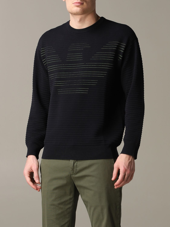 Pullover Emporio Armani: Emporio Armani gestreiftes Sweatshirt aus Baumwolle mit Logo blau 4