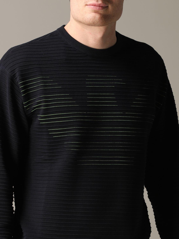 Pullover Emporio Armani: Emporio Armani gestreiftes Sweatshirt aus Baumwolle mit Logo blau 5