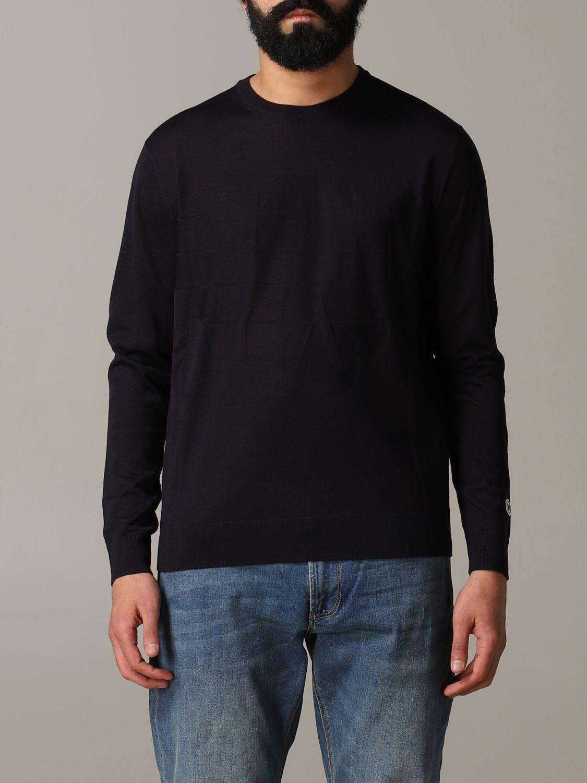 Pullover Emporio Armani: Emporio Armani Sweatshirt mit Jacquard-Logo blau 1