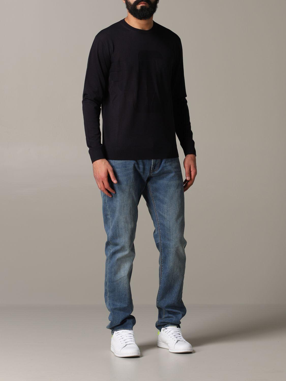Pullover Emporio Armani: Emporio Armani Sweatshirt mit Jacquard-Logo blau 2