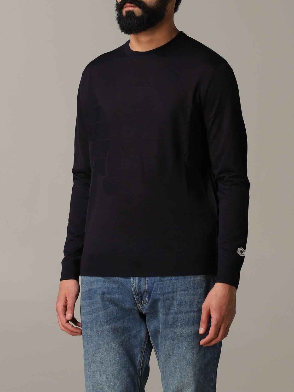 Pullover Emporio Armani: Emporio Armani Sweatshirt mit Jacquard-Logo blau 4