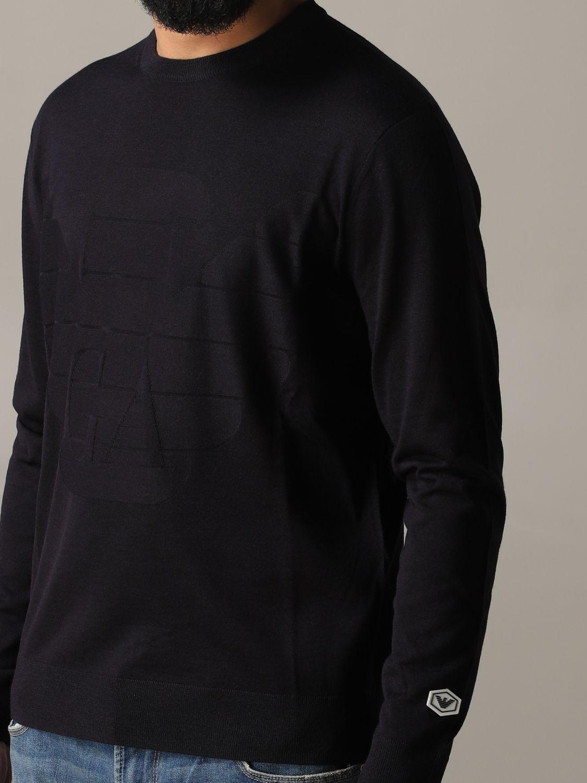 Pullover Emporio Armani: Emporio Armani Sweatshirt mit Jacquard-Logo blau 5
