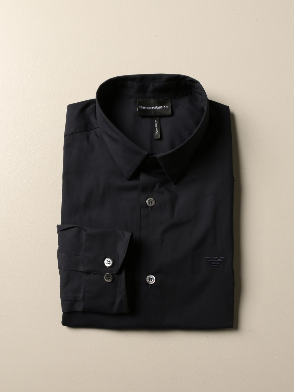 Hemd Emporio Armani: Emporio Armani Hemd aus Stretch-Popeline blau 1