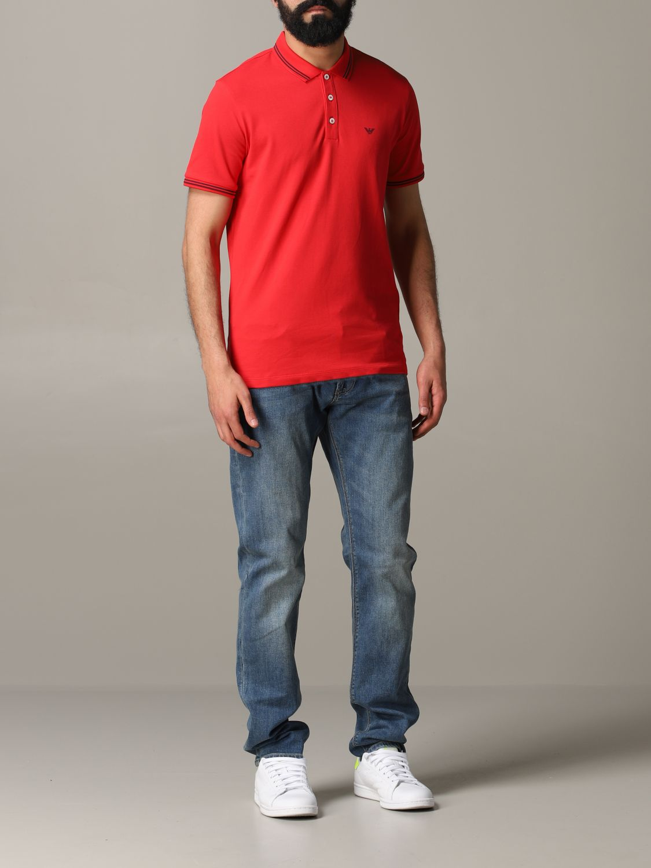 T-Shirt Emporio Armani: Emporio Armani Poloshirt mit Logo rot 2