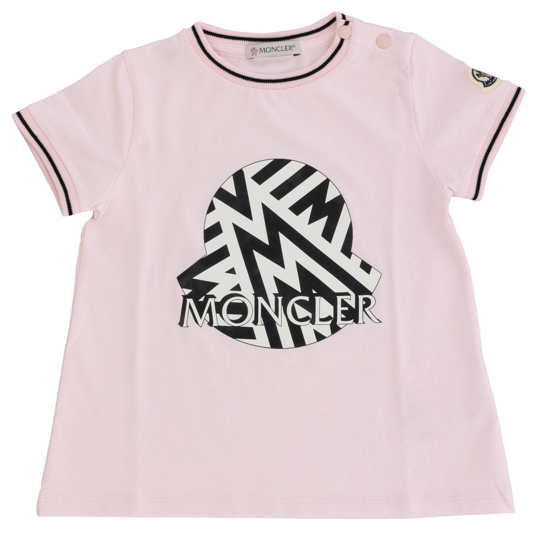 Moncler short-sleeved T-shirt with big logo pink 1