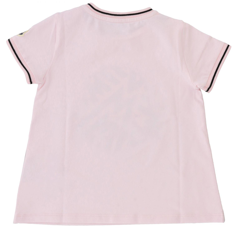 Moncler short-sleeved T-shirt with big logo pink 2