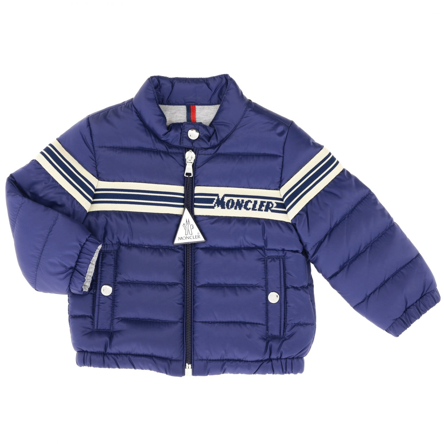 Haraiki Moncler down jacket with striped band and logo navy 1