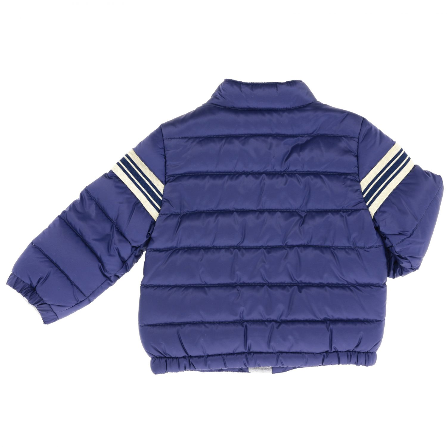 Haraiki Moncler down jacket with striped band and logo navy 2