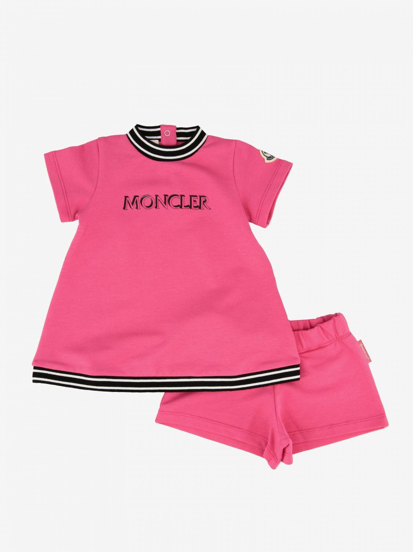 Moncler logo 纯棉配短裤连衣裙 珊瑚色 1