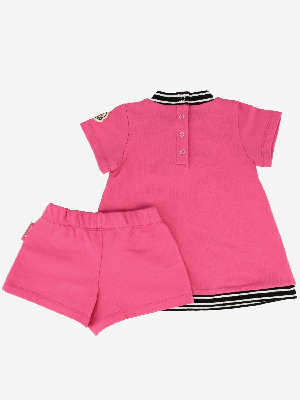 Moncler logo 纯棉配短裤连衣裙 珊瑚色 2