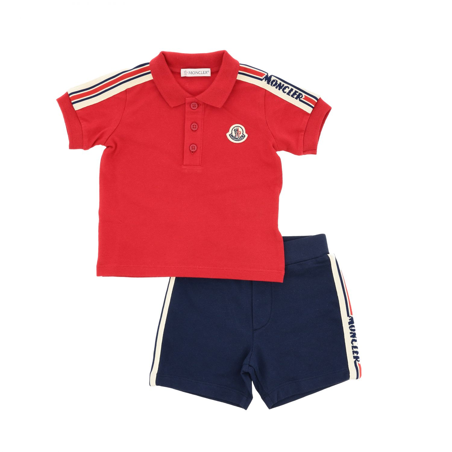 Moncler Polo set + shorts with logo and side bands outfit red 1