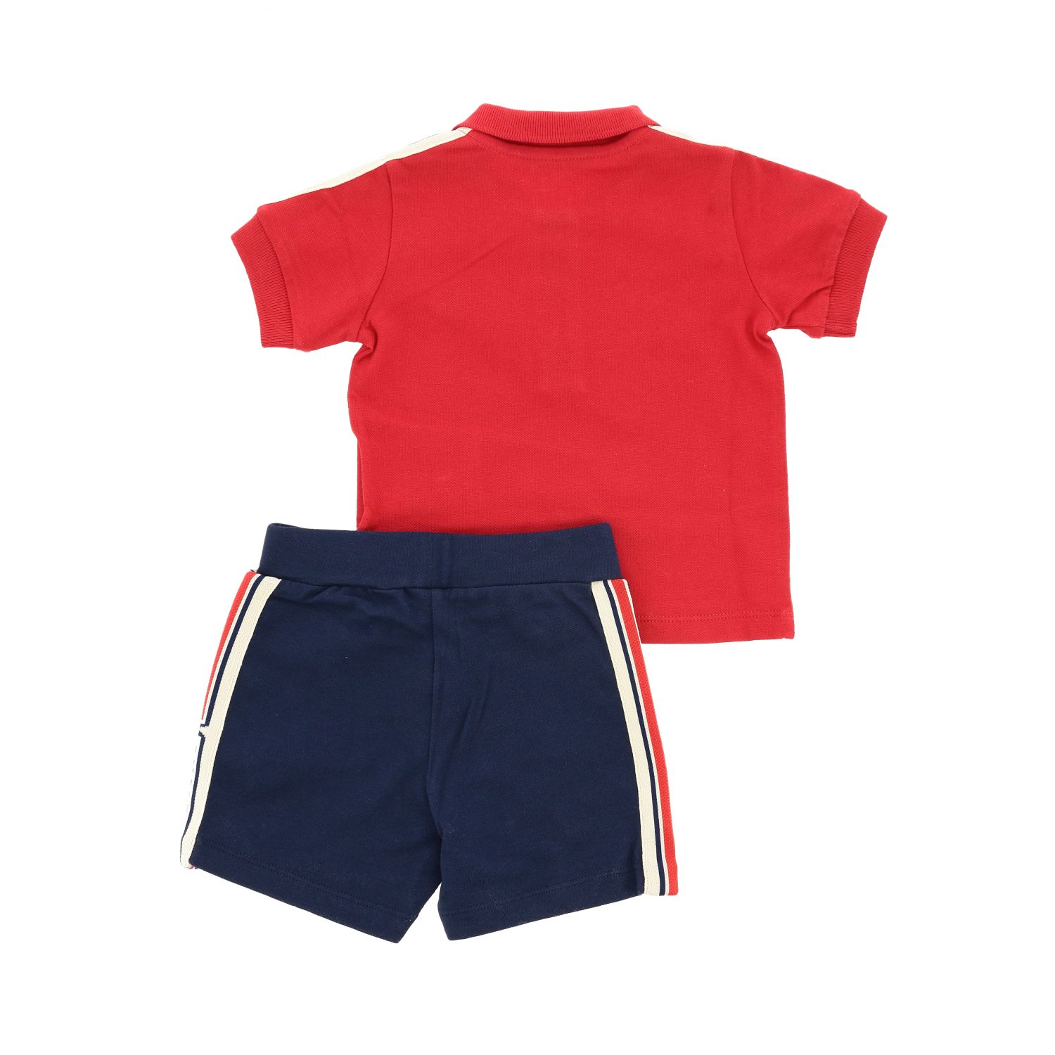 Moncler Polo set + shorts with logo and side bands outfit red 2