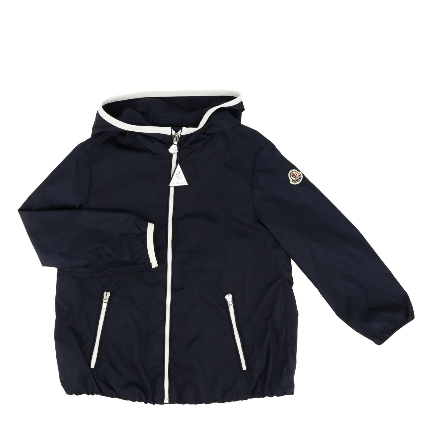 Moncler Eau nylon jacket with hood blue 1