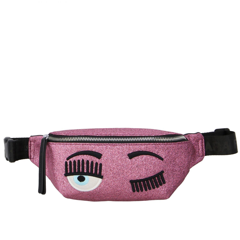 Marsupio Chiara Ferragni in tessuto glitter con ricamo flirting rosa 1