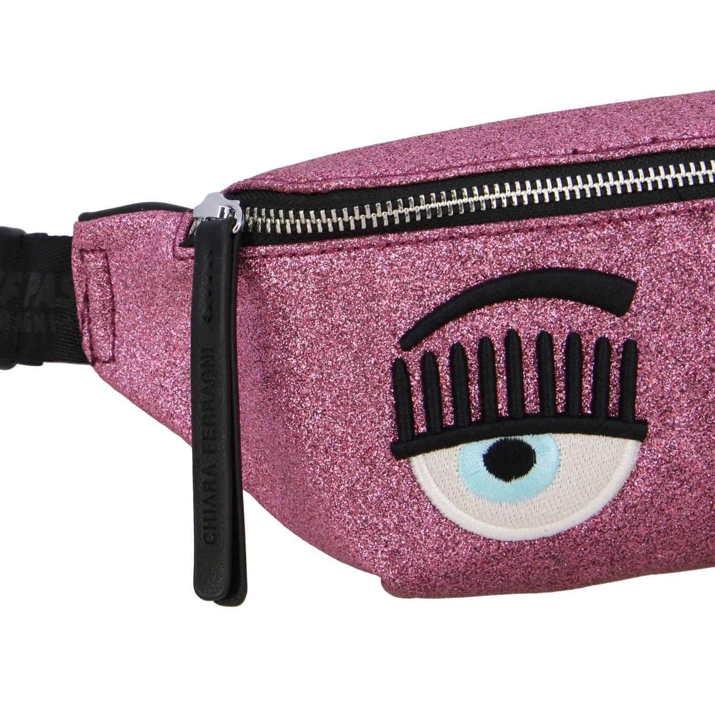 Marsupio Chiara Ferragni in tessuto glitter con ricamo flirting rosa 4
