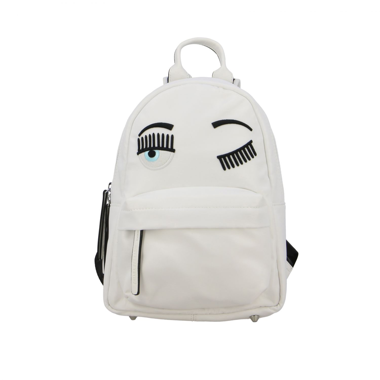 Chiara Ferragni canvas backpack with flirting embroidery white 1