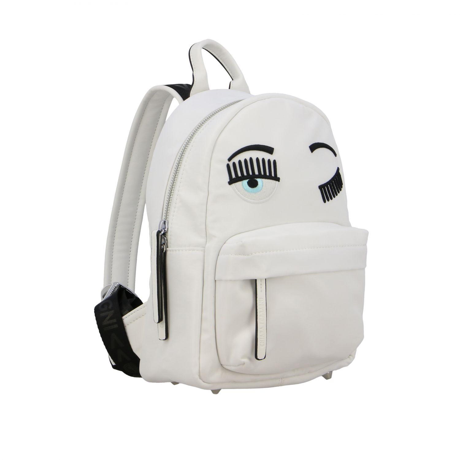 Chiara Ferragni canvas backpack with flirting embroidery white 3