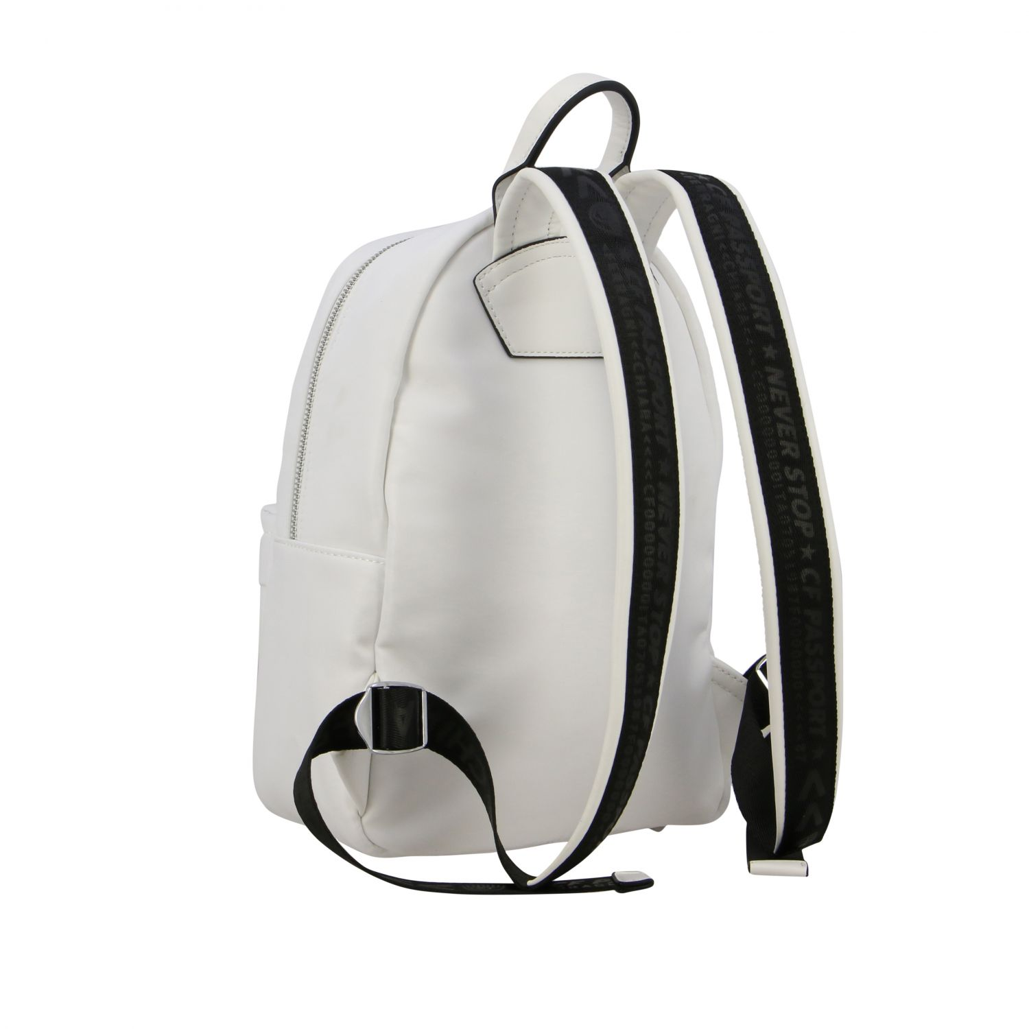 Chiara Ferragni canvas backpack with flirting embroidery white 4