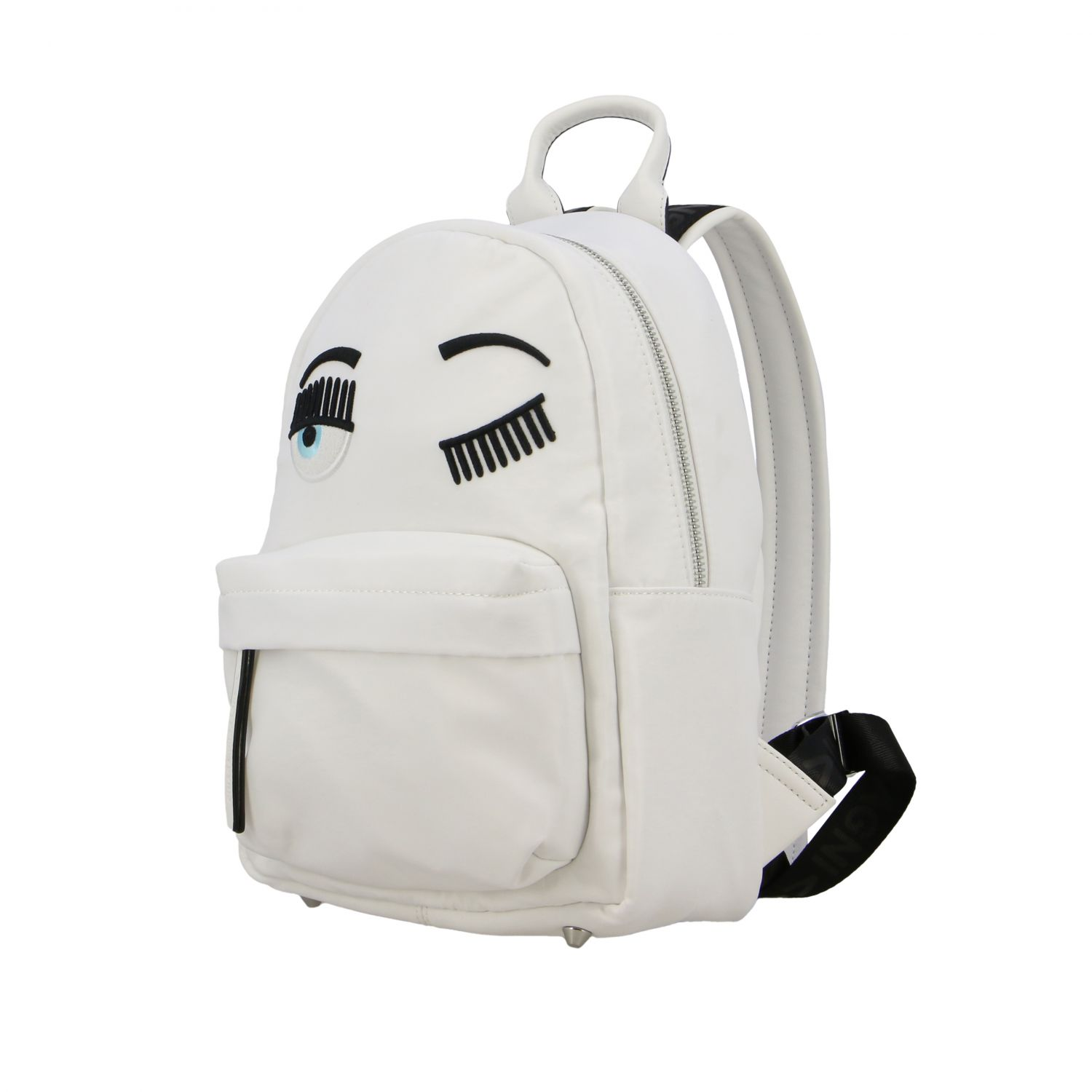 Chiara Ferragni canvas backpack with flirting embroidery white 5
