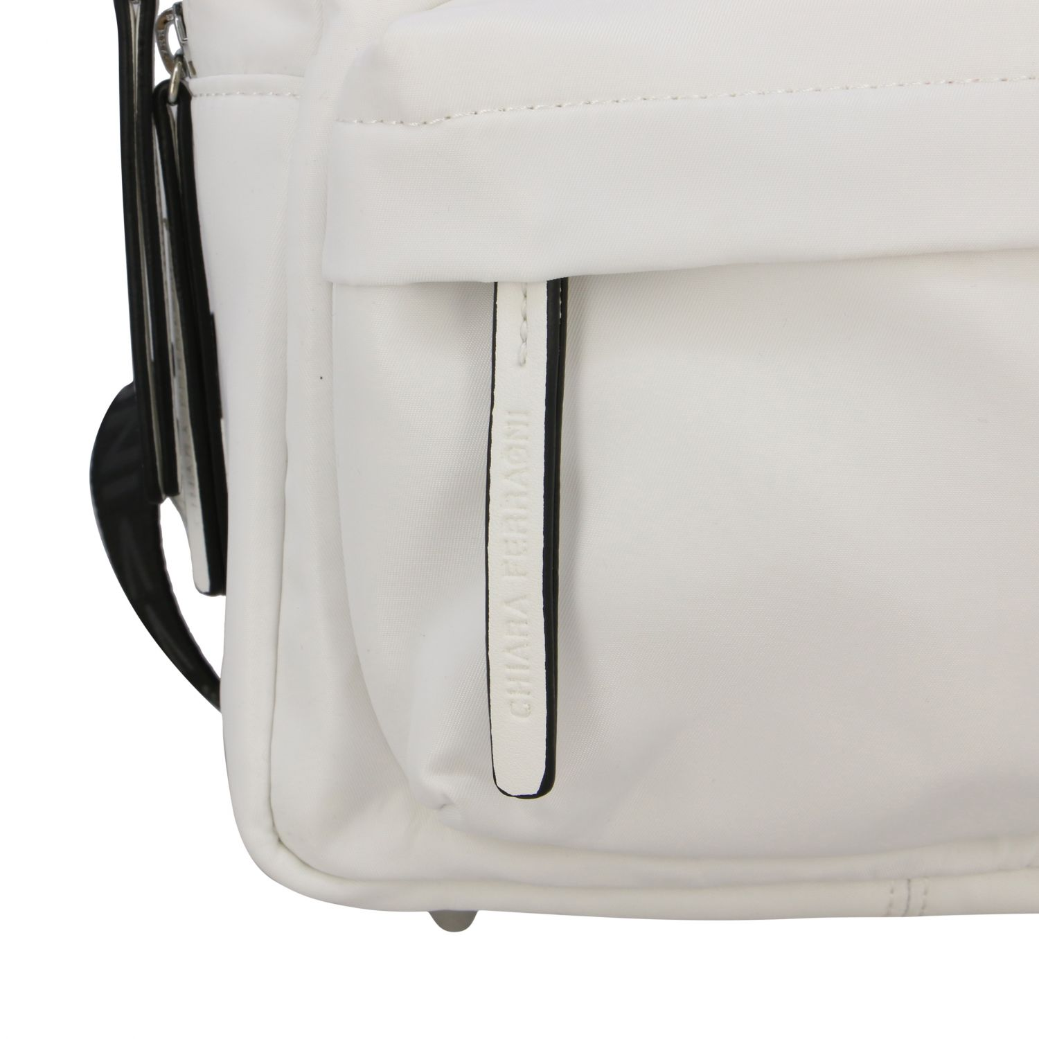 Chiara Ferragni canvas backpack with flirting embroidery white 6