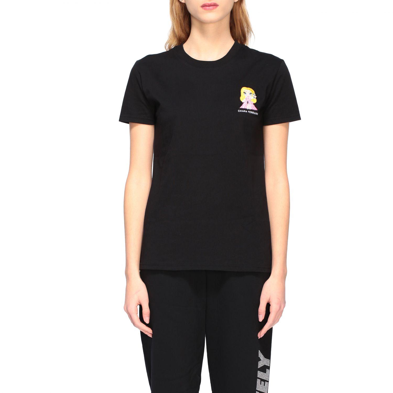 Chiara Ferragni t-shirt with embroidered mascot black 1