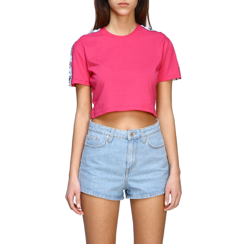 T-shirt Chiara Ferragni cropped con bande logate fuxia 1