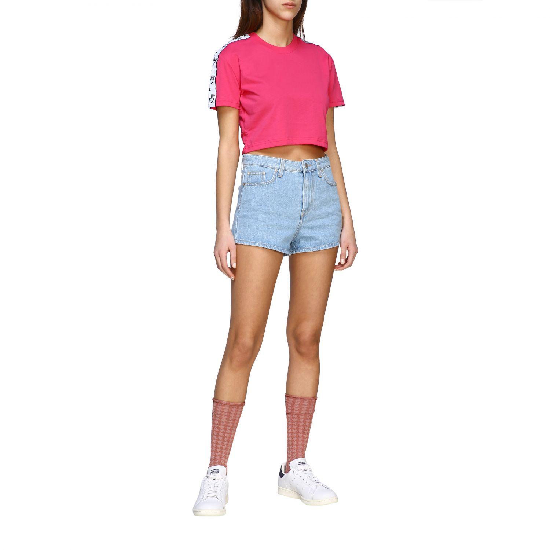 T-shirt Chiara Ferragni cropped con bande logate fuxia 2