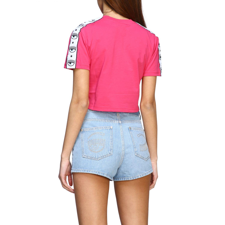 T-shirt Chiara Ferragni cropped con bande logate fuxia 3