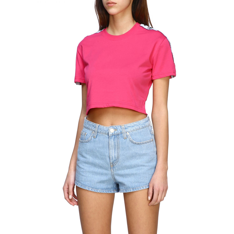 T-shirt Chiara Ferragni cropped con bande logate fuxia 4