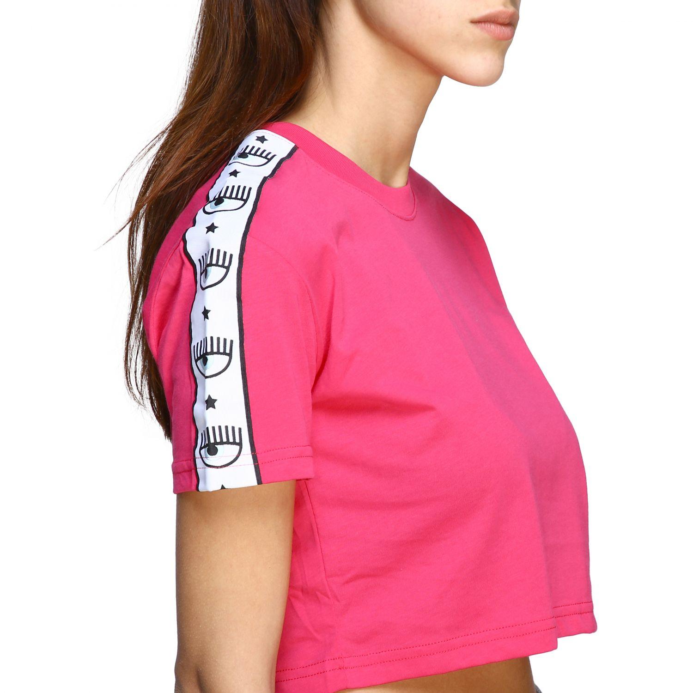T-shirt Chiara Ferragni cropped con bande logate fuxia 5