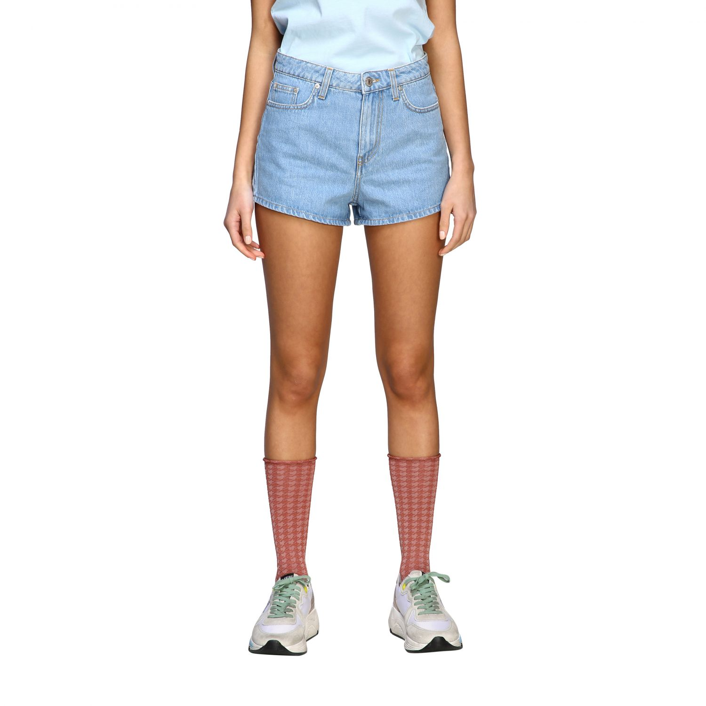 Chiara Ferragni shorts with eyes embroidery stone washed 1