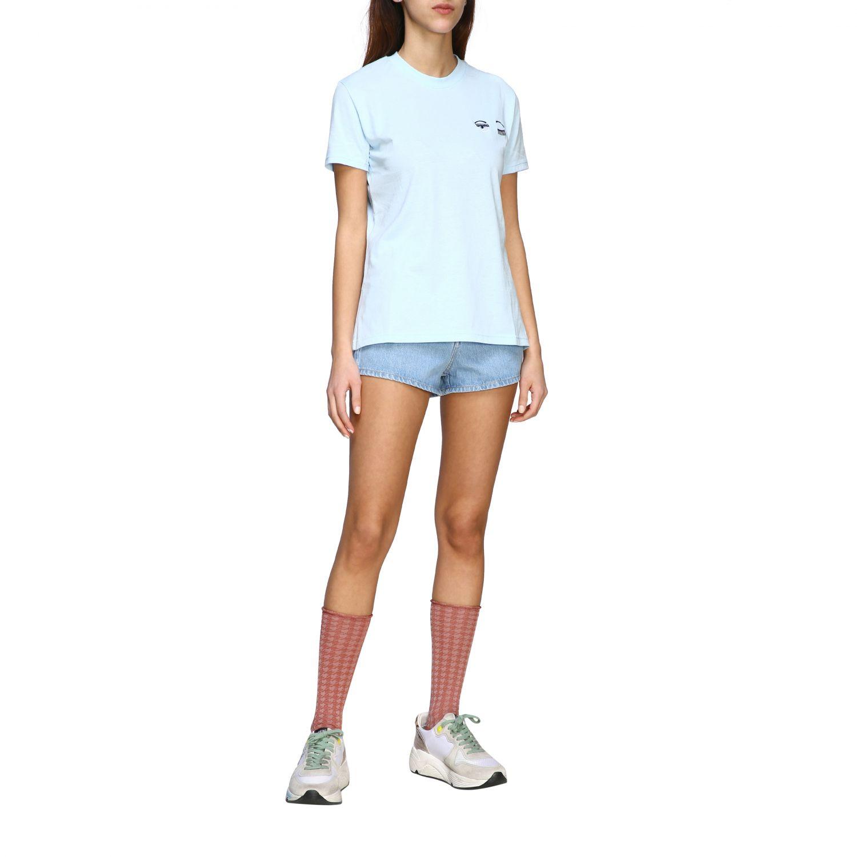 Chiara Ferragni shorts with eyes embroidery stone washed 2