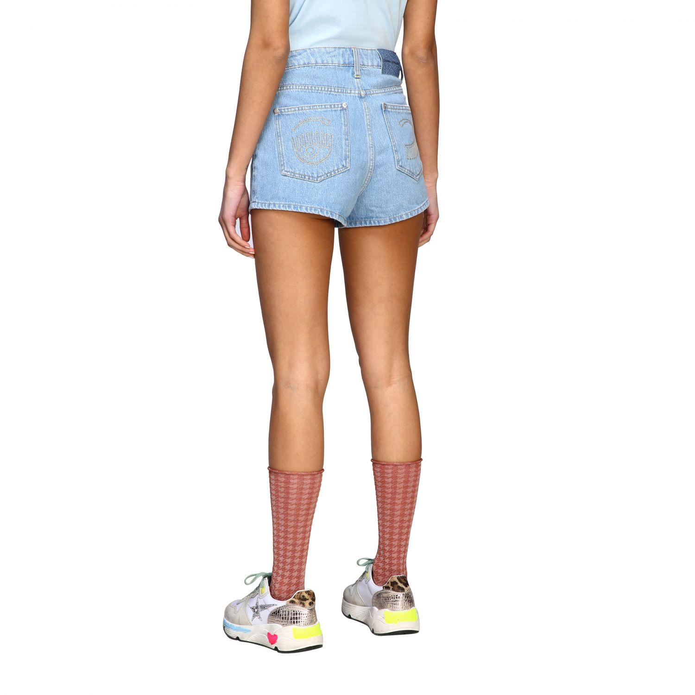 Chiara Ferragni shorts with eyes embroidery stone washed 3