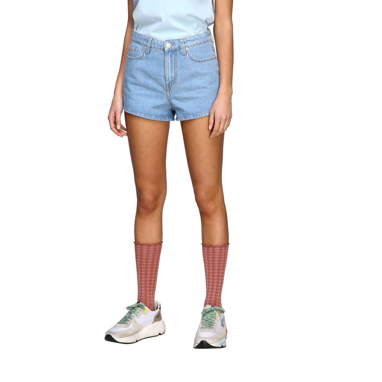 Chiara Ferragni shorts with eyes embroidery stone washed 4