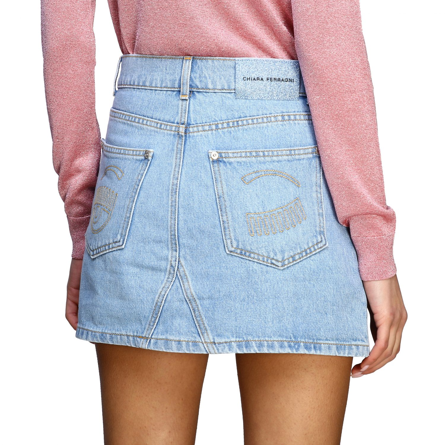 Skirt Chiara Ferragni: Skirt women Chiara Ferragni stone washed 5