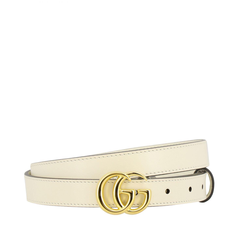 Cintura Gucci in pelle con fibbia GG bianco 1